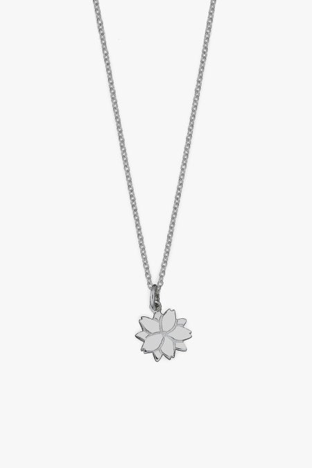 Cherry Blossom Charm Necklace - Silver
