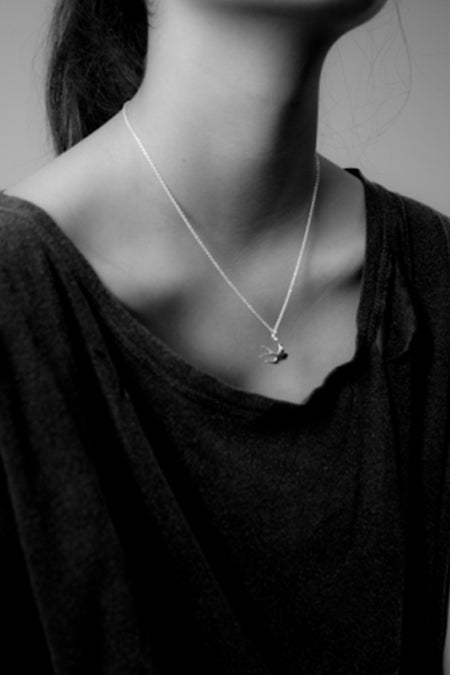 Swallow Charm Necklace - Silver
