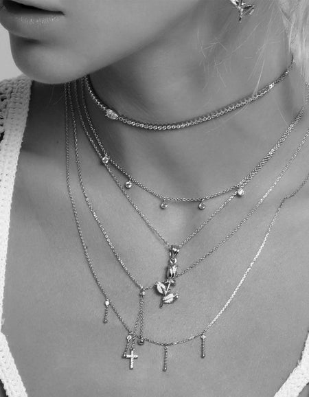 Danilo Rose Necklace - Silver Plated