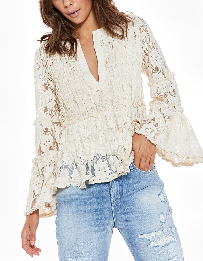 Tanisa Top - Beaded Ivory Lace
