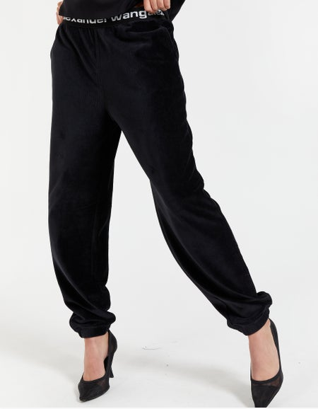 Stretch Corduroy Pant With Elastic - Black