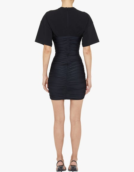 Ruched Bodycon Mini Dress With Integrated S/S Tee - Black-Black
