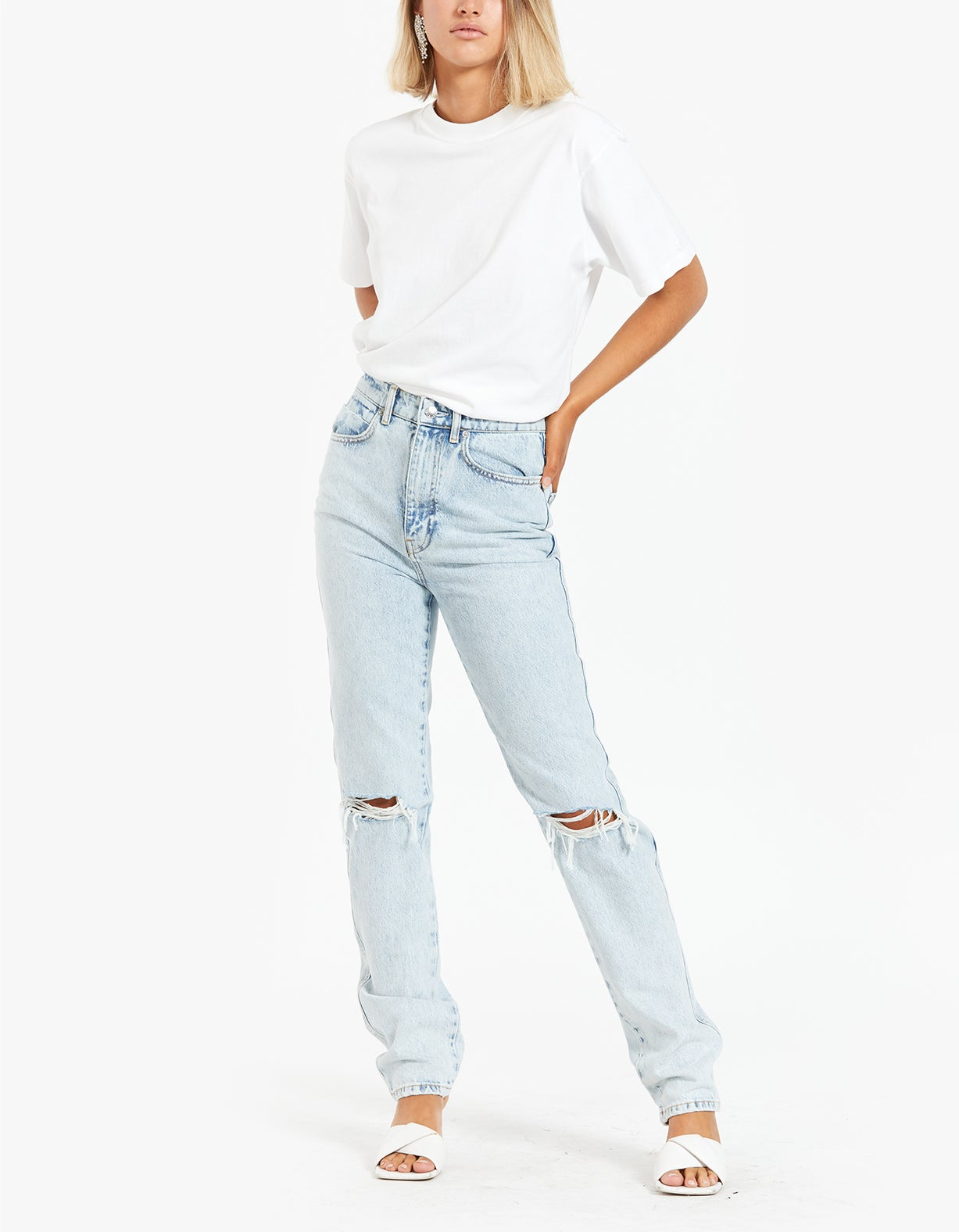 High Waist Jean With Dipped Back - Pebble Bleach