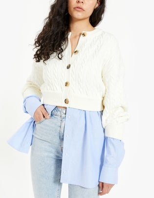 Bi-Layer Cable Cardigan With Oxford Shirting