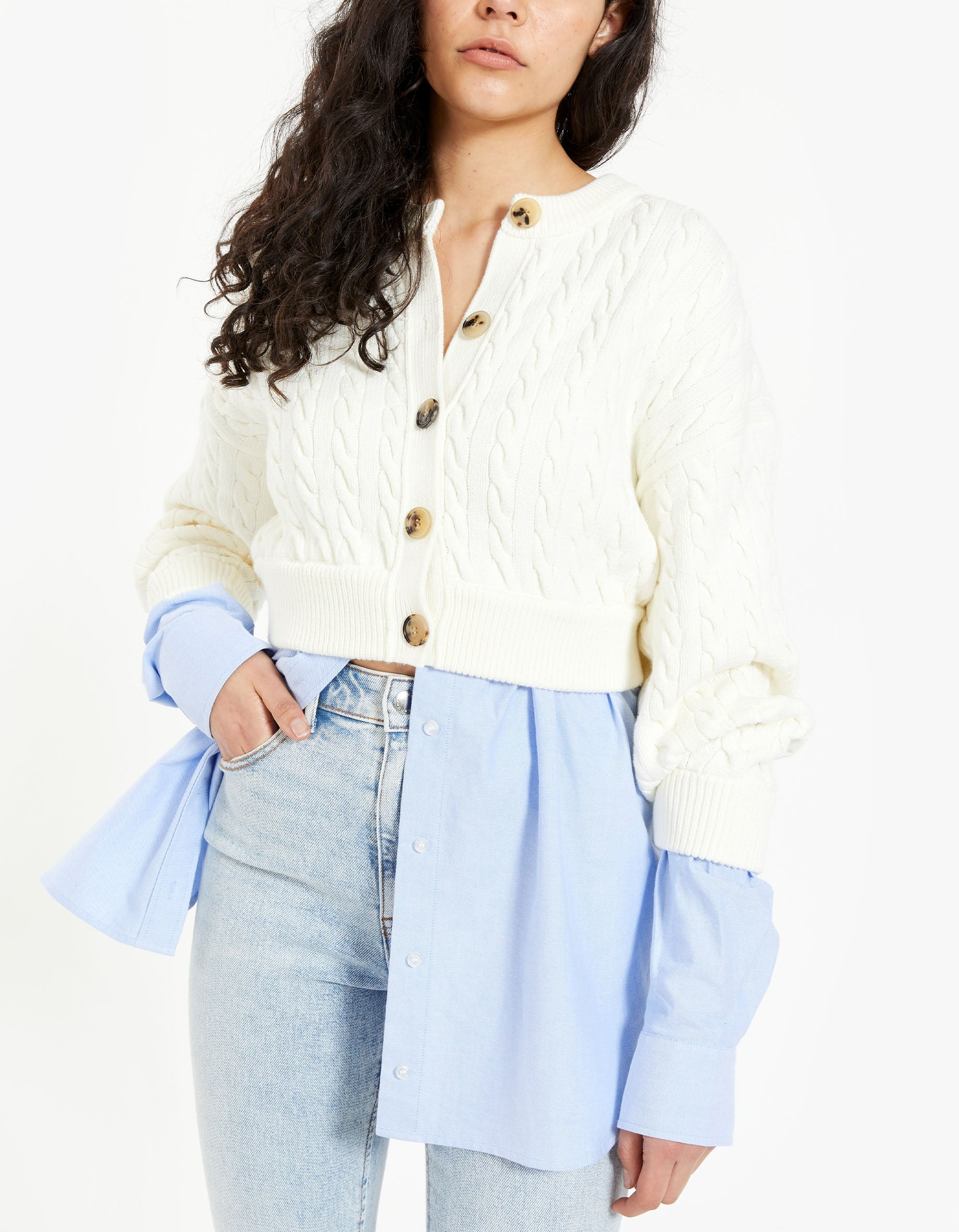 Bi-Layer Cable Cardigan With Oxford Shirting - Ivory/Blue