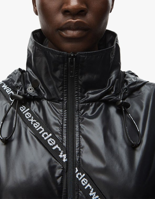 Zip Front Jacket With Integrated Fanny Pack - Black