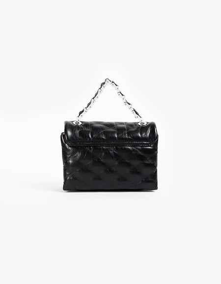 Halo Crossbody Bag - Black Quilted Leather