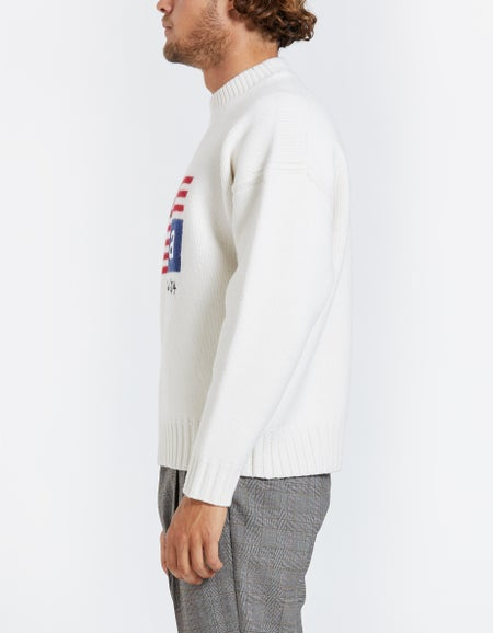 Crew Neck Pullover with Logo Flag - Ivory