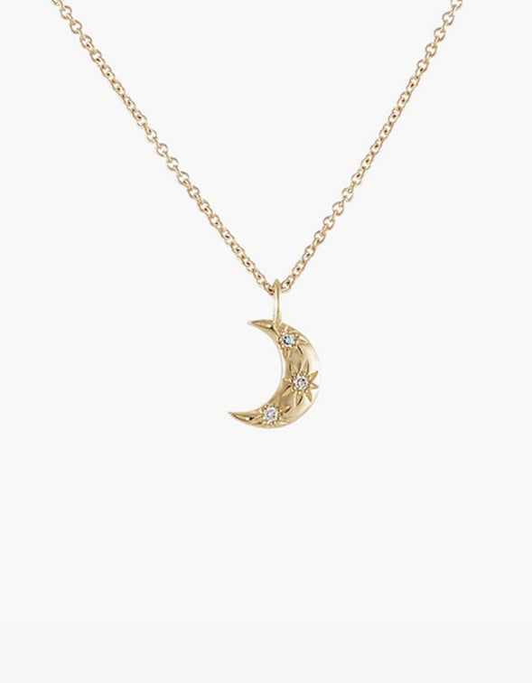 Crescent Moon Diamond Necklace - 9K Gold Plated