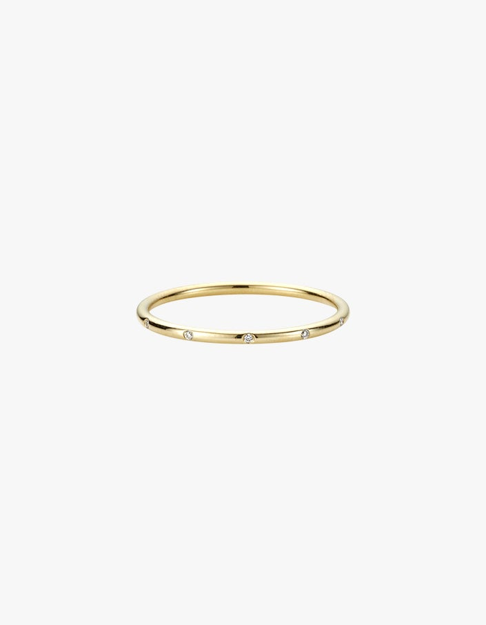Girl Ring with Diamonds - 9K Yellow Gold