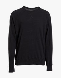 Mens Slub Rib Raglan Sweat - Black