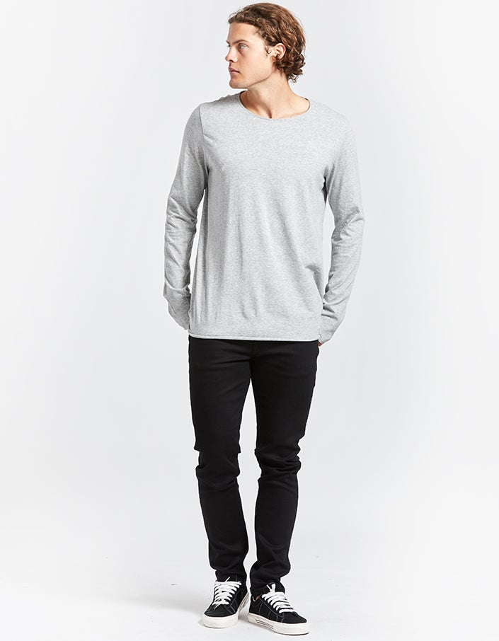 Mens Original Neck L/S T Shirt With Tail - Grey