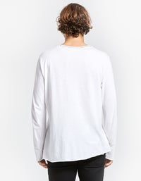 Mens Original Neck L/S T Shirt With Tail - White