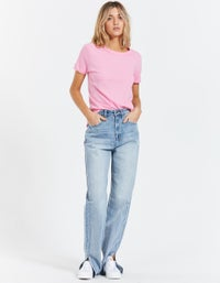 Womens Slim Fit Heritage S/S T-Shirt - Bright Pink
