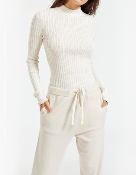 Womens Cashmere Trackpant - Stone