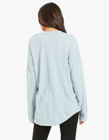 Womens Wide Heritage French Seam L/S T-Shirt - Duck Egg Blue