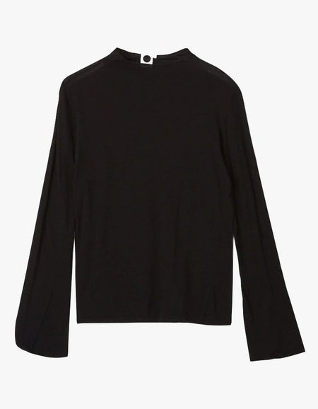 Womens Raised Neck Slim L/S T-Shirt - Black
