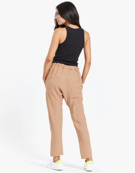 Womens Triacetate Relaxed Pant - Black