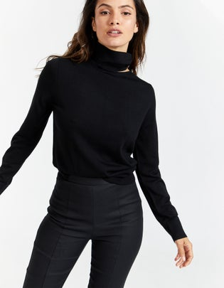Womens Wool Jersey Cut Out Funnel Neck