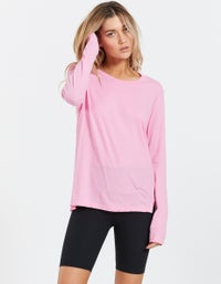 Womens Fitted Layering L/S T-Shirt - Bright Pink