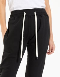 Womens Athletic Fleece Trackpant - Washed Black