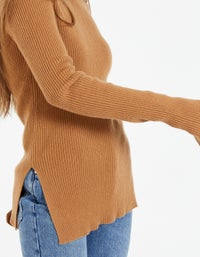 Womens Rib Fitted Crew Neck Knit - Rust