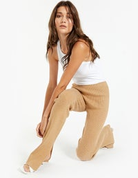 Womens Knitted Flared Tights - Caramel