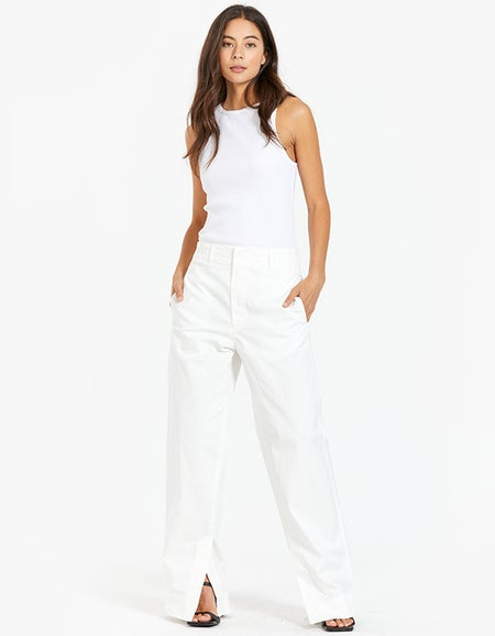 Womens Stretch Bandless Slouch Chino - White