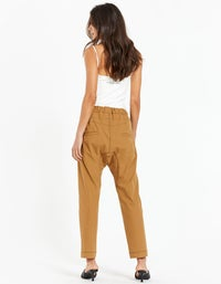 Womens Stretch Twill Relaxed Pants - Tan