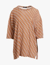 Womens Printed Wide Heritage S/S T- Shirt - Urth Brown