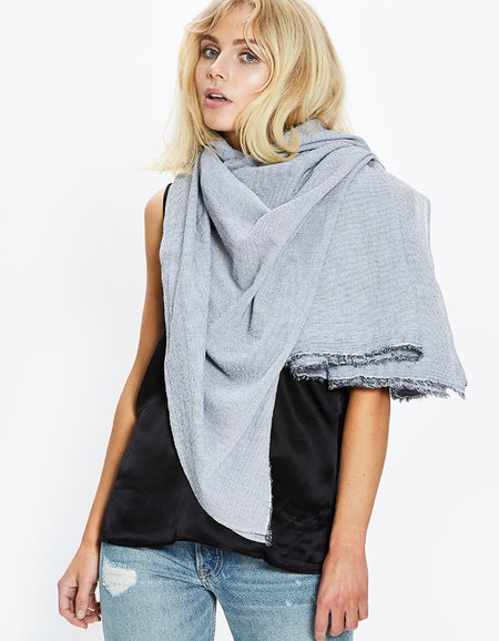 Womens Crinkle Cotton Beach Wrap - Ink/White