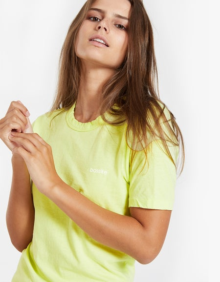 Bassike x Superette Wide Heritage Bassike S/S T-Shirt - Fluro Yellow