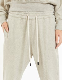 Womens Fleece Tapered Pant - Taupe Marle