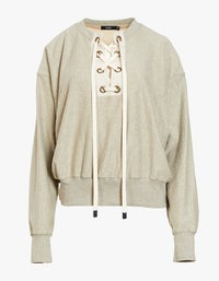 Womens Tie Front Fleece Sweat - Taupe Marle