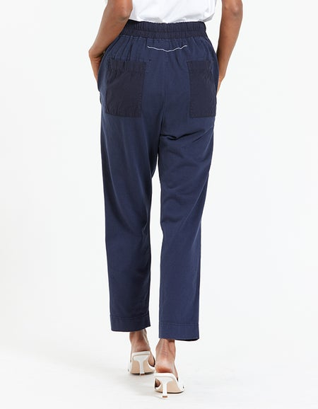 Womens Double Jersey Contrast Tapered Pant - Deep Indigo