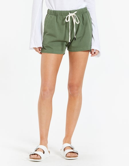 Womens Double Jersey Beach Short - Olive Leaf