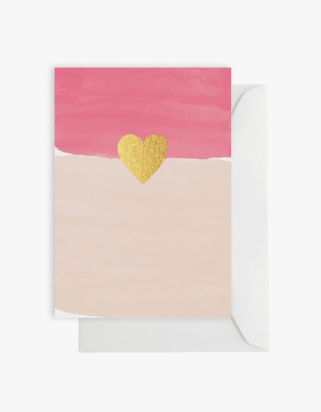 Watercolour Pink With Gold Heart Card - Pink