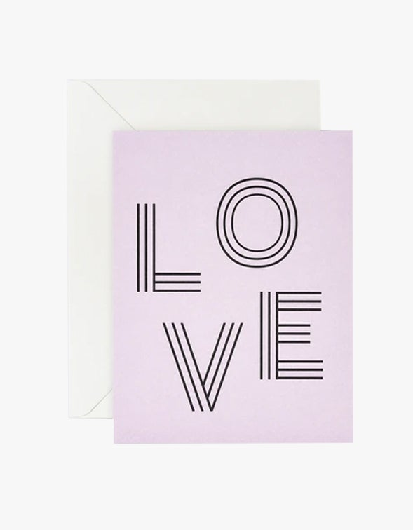 Love Stripe Letters Card - Lilac