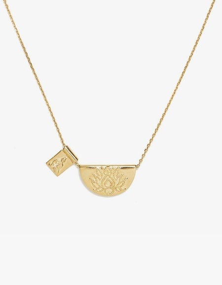 Lotus and Little Buddha Short Necklace - Gold Plated