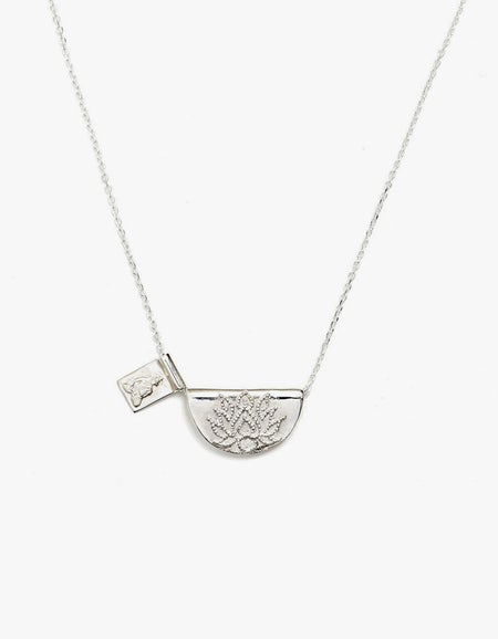 Lotus and Little Buddha Short Necklace - Silver