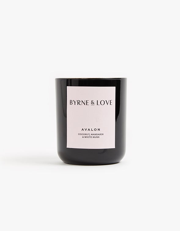 Glass Candle Coconut, Mandarin & White Musk - Black