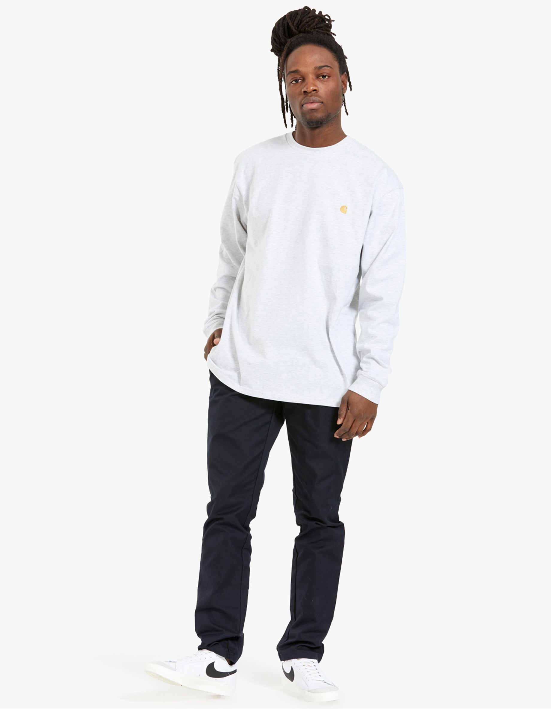 L/S Chase T-Shirt - Ash Heather/Gold
