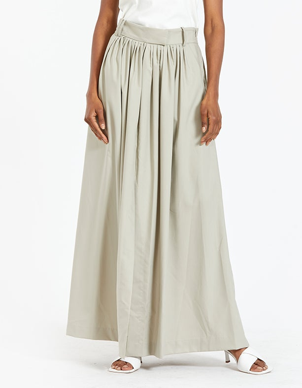 Frost Pleat Maxi Skirt - Oyster