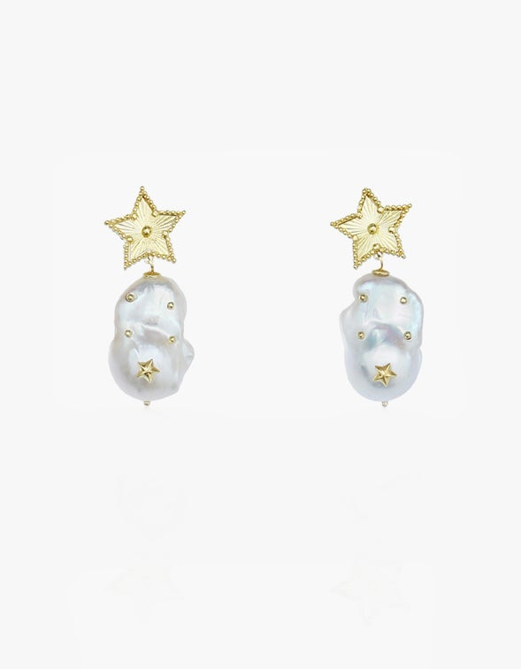 Astral Baroque Pearl Earrings - 18K Gold Plated