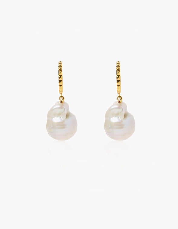 Aurora Baroque Pearl Hoops - 24K Gold Plated