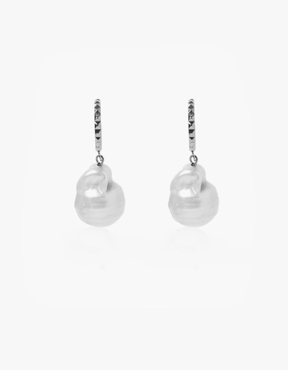 Aurora Baroque Pearl Hoops - Sterling Silver Plated