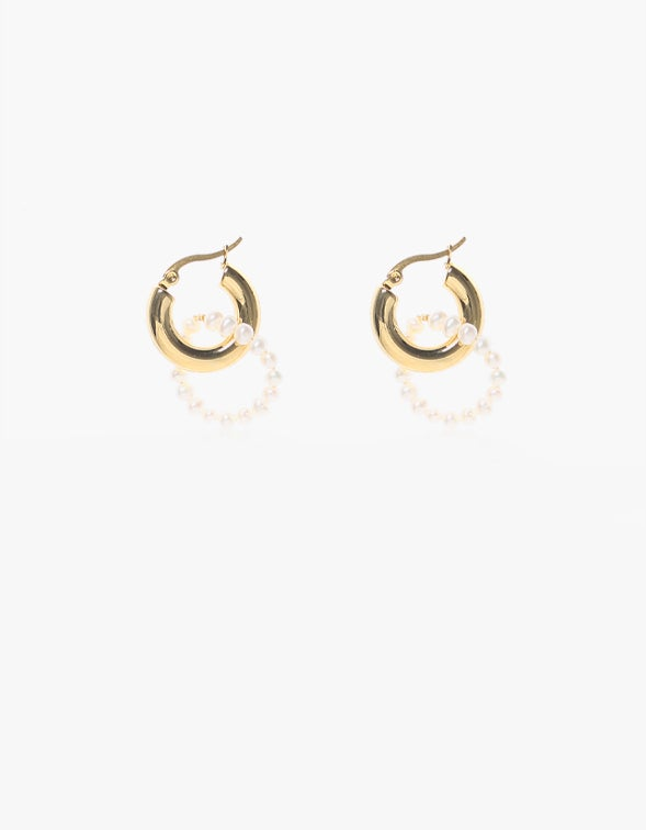 Brizo Double Beaded Hoops - 24K Gold Plated/Pearl