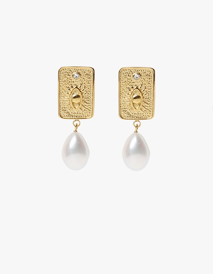 Deity Baroque Pearl Earrings - Gold Plated