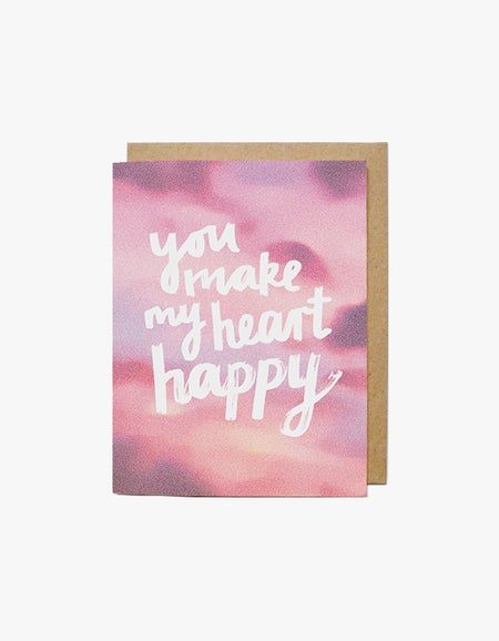 Happy Heart Card - Pink