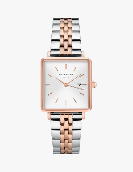 The Boxy Watch - Silver/Rose Gold Duo